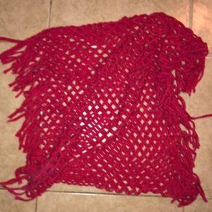 Aeropostale Red Knit Fringe Scarf